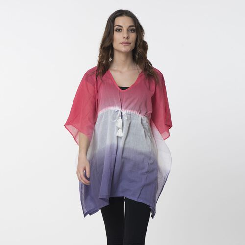 100% Cotton Pink, White and Violet Colour Ombre Effects Poncho (Size 85x60 Cm)
