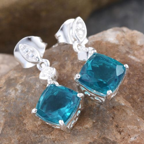 Capri Blue Quartz (Cush) Earrings (with Push Back) in Sterling Silver 3.750 Ct.