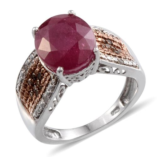 African Ruby (Ovl 6.25 Ct), Champagne and White Diamond Ring in Platinum Overlay Sterling Silver 6.400 Ct.
