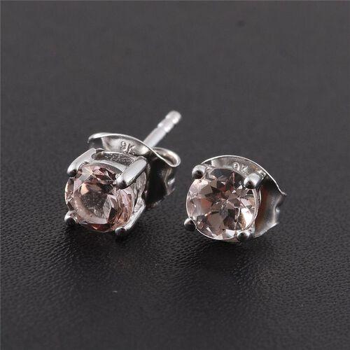 9K White Gold 0.75 ct. AA Marropino Morganite Solitaire Stud Earrings