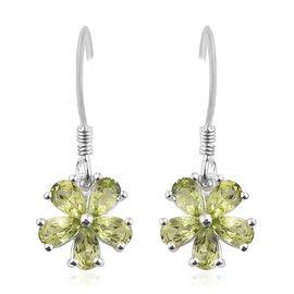 Hebei Peridot (Pear) Flower Hook Earrings in Sterling Silver 2.500 Ct.