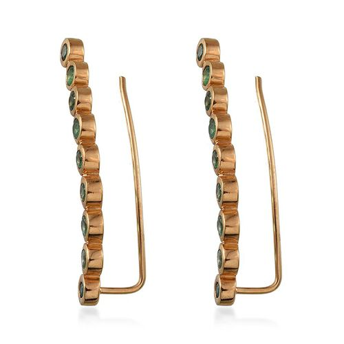 Kagem Zambian Emerald (Rnd) Climber Earrings in 14K Gold Overlay Sterling Silver 1.750 Ct. Silver wt 7.37 Gms.