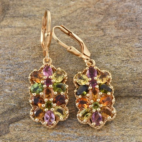 Rainbow Tourmaline (Ovl) Lever Back Earrings in 14K Gold Overlay Sterling Silver 4.000 Ct.