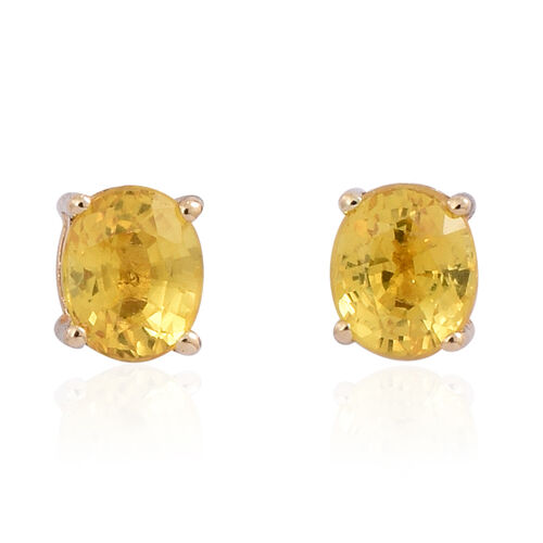9K Yellow Gold 0.80 Carat AA Yellow Sapphire Stud Earrings (with Push Back)