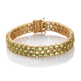 Hebei Peridot 25 Ct Three Row Silver Tennis Bracelet (Size 7.5) in Gold Overlay