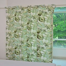 Green, Cream and Multi Colour Tropical Leaves Printed Double Side Curtain (Size 230 X 167 Cm)