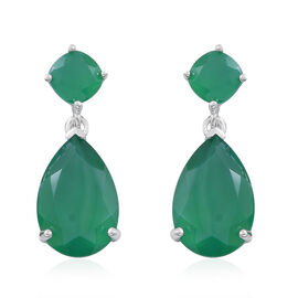 Verde Onyx (Pear) Drop Earrings (with Push Back) in Rhodium Plated Sterling Silver 10.000 Ct.