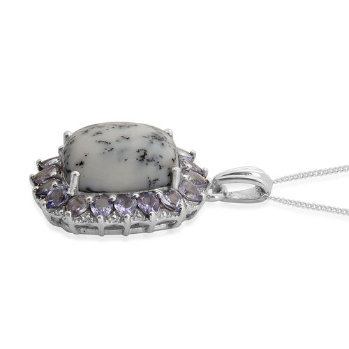 Dendritic Opal (Cush 7.50 Ct), Tanzanite and Diamond Pendant With Chain in Platinum Overlay Sterling Silver 9.760 Ct.