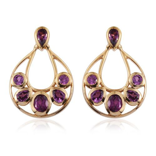 Rare Mozambique Grape Colour Garnet (Ovl) Earrings (with Push Back) in 14K Gold Overlay Sterling Silver 2.750 Ct.