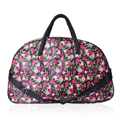 Multi Colour Floral Pattern Black Colour Weekend Bag with External Zipper Pocket and Adjustable Shoulder Strap (Size 50x31x17 Cm)