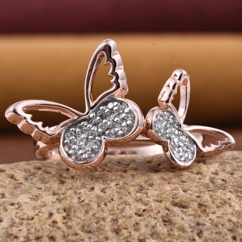 Kimberley Butterfly Collection Natural Cambodian Zircon (Rnd) Butterfly Ring in Rose Gold Overlay Sterling Silver