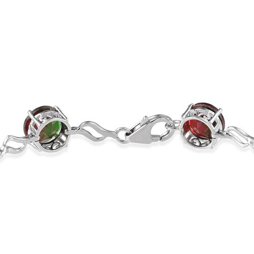 Tourmaline Colour Quartz (Rnd) Bracelet in Platinum Overlay Sterling Silver (Size 7.5) 22.000 Ct.