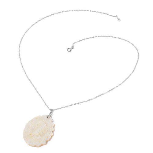White Shell ZODIAC Scorpio Pendant With Chain in Sterling Silver