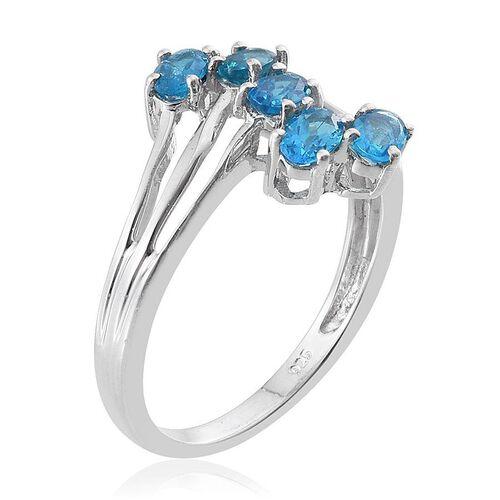 Malgache Neon Apatite (Ovl) 5 Stone Crossover Ring in Platinum Overlay Sterling Silver 1.250 Ct.