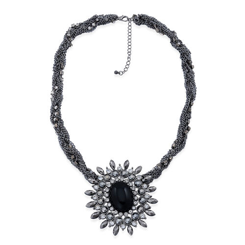 White Austrian Crystal, Gunmetal Glass and Simulated Black Stone Necklace (Size 20 with 3 inch Extender) in Black Tone