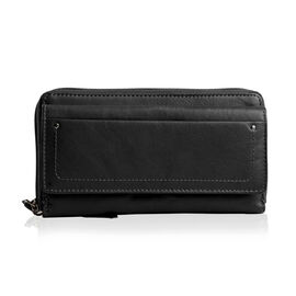 100% Genuine Leather RFID Blocker Black Colour Wallet with Multiple Card Slots (Size 19X10.5X5 Cm)