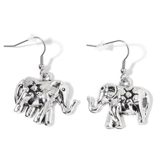 Elephant Necklace (Size 18 with 2 inch Extender) and Hook Earrings in Silver Tone