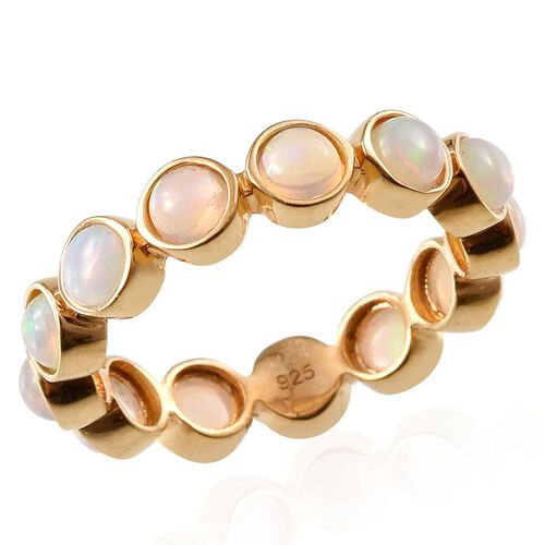 Ethiopian Welo Opal (Rnd) Full Eternity Ring in 14K Gold Overlay Sterling Silver 2.000 Ct.