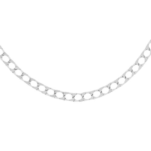 Close Out Deal Rhodium Plated Sterling Silver Diamond Cut Square Curb Chain (Size 20), Silver wt 6.30 Gms.