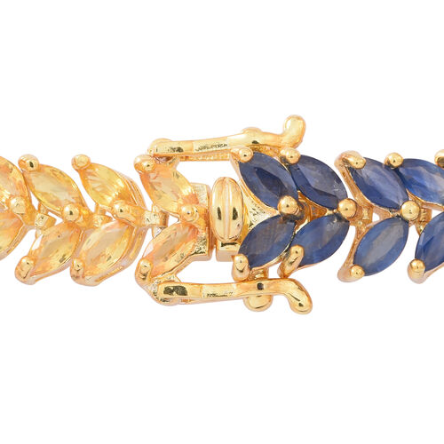 AAA Rainbow Sapphire (Mrq) Line Bracelet (Size 7) in 14K Gold Overlay Sterling Silver 17.000 Ct.