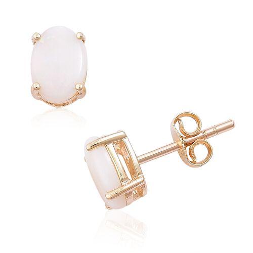 9K Yellow Gold 1.50 Ct. AA Australian White Opal (Ovl) Stud Earrings