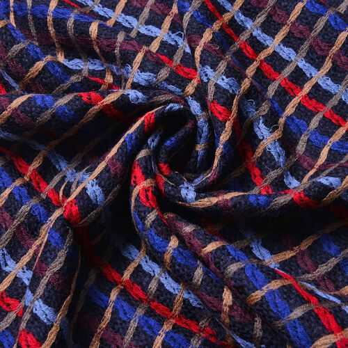 100% Wool Black, Red and Multi Colour Checks Pattern Scarf with Tassels (Size 170X47 Cm)