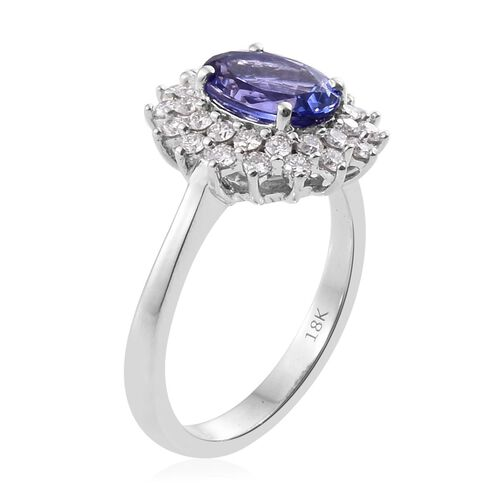 ILIANA 2 Carat AAA Tanzanite and Diamond (SI/G-H) Halo Ring in 18K White Gold