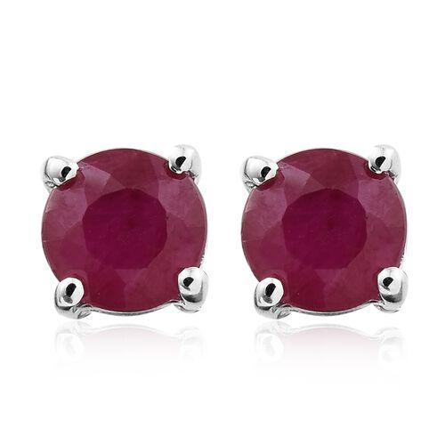 9K White Gold 0.70 ct. Burmese Ruby Solitaire Stud Earrings