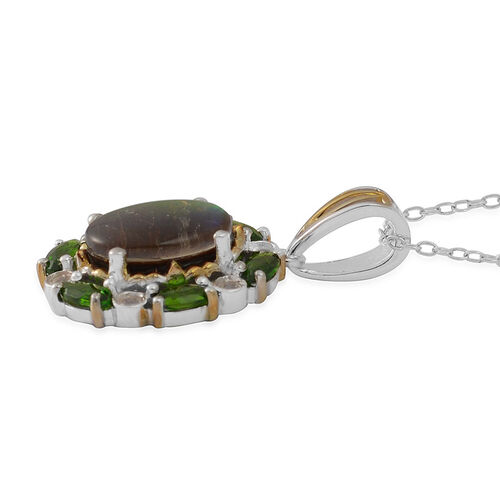 Canadian Ammolite (Ovl 2.50 Ct), Russian Diopside and White Topaz Pendant With Chain in Yellow Gold and Rhodium Plated Sterling Silver 3.700 Ct.