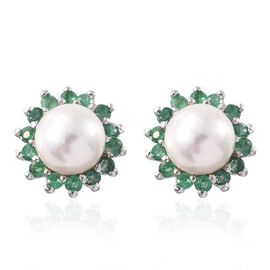White Pearl, Kagem Zambian Emerald 3 Carat Silver Floral Stud Earrings  in Platinum Overlay (with Push Back)