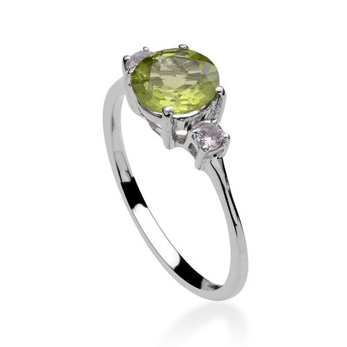 Hebei Peridot (Rnd 2.00 Ct), White Topaz Ring in Platinum Overlay Sterling Silver 2.250 Ct.