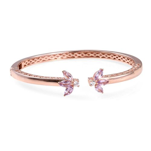 Rose De France Amethyst (Mrq), Natural Cambodian Zircon Bangle (Size 7.5) in ION Plated 18K Rose Gold Bond 2.500 Ct.