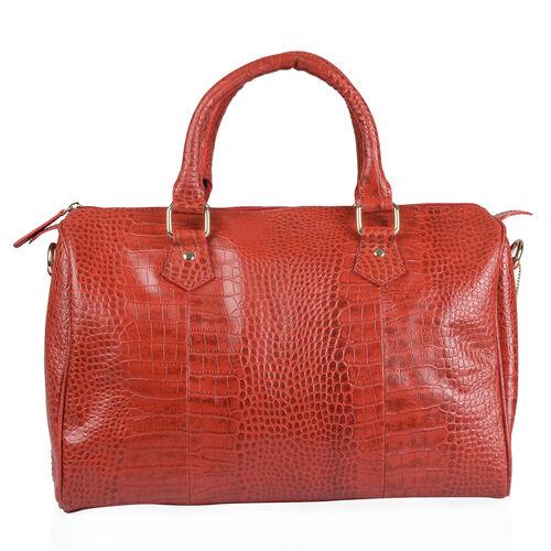 Genuine Leather RFID Blocker Red Colour Shoulder Bag with Zipper Closure (Size 35X26X15 Cm)