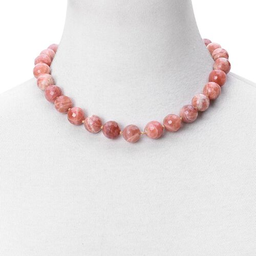 Limited Edition- Sri Lankan Sunstone Ball Beads Necklace (Size 18) with Magnetic Clasp Lock in Rhodium Plated Sterling Silver, 520.00 Cts.
