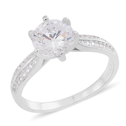 ELANZA AAA Simulated White Diamond (Rnd) Ring in Rhodium Plated Sterling Silver