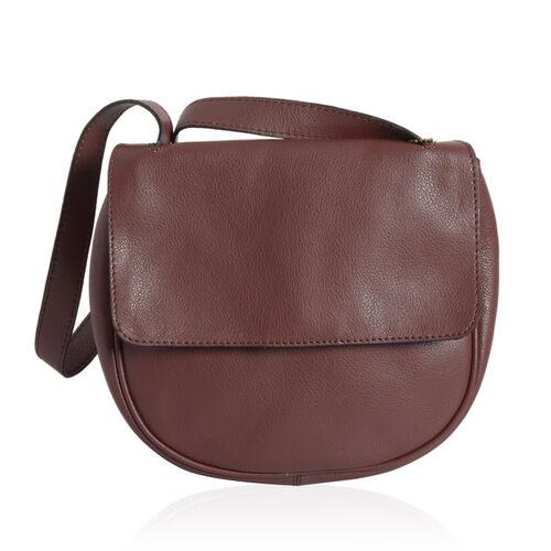 Genuine Leather Burgundy Colour Sling Bag (Size 20 X 22 X 5.5 CM)