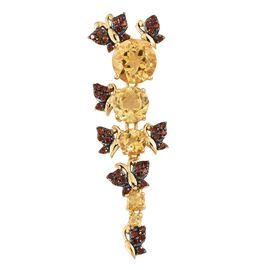 GP- Citrine (Rnd), Mozambique Garnet and Kanchanaburi Blue Sapphire Butterfly Pendant in 14K Gold Overlay Sterling Silver 7.250 Ct. Silver wt 7.63 Gms.