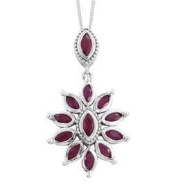 African Ruby (Mrq) Floral Pendant with Chain in Platinum Overlay Sterling Silver 2.500 Ct.