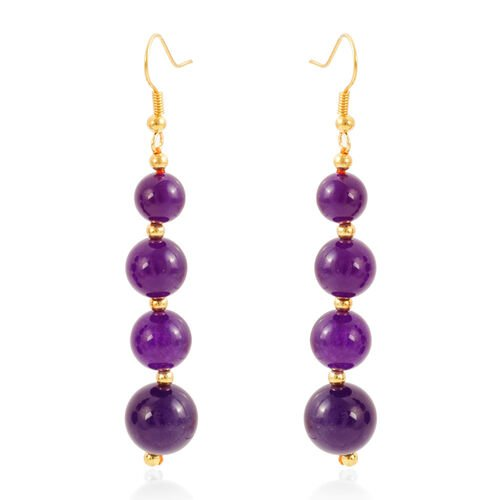 Amethyst Colour Quartzite (Rnd) Necklace (Size 18 with 2 inch Extender) and Hook Earrings in Yellow Gold Bond 230.000 Ct.