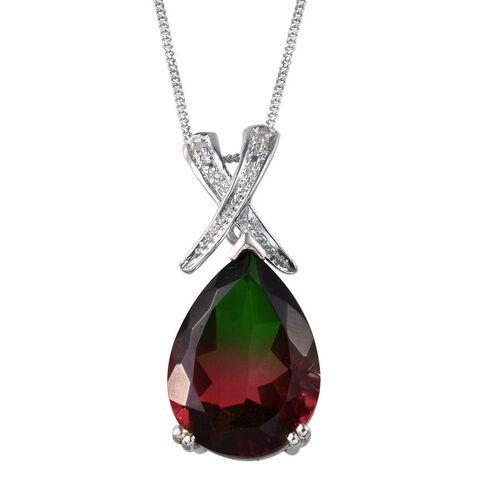 Tourmaline Colour Quartz (Pear 10.00 Ct), Diamond Pendant With Chain in Platinum Overlay Sterling Silver 10.020 Ct.