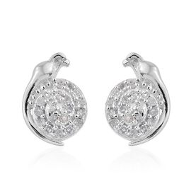 Diamond (Rnd) Bird Stud Earrings (with Push Back) in Platinum Overlay Sterling Silver 0.150 Ct.