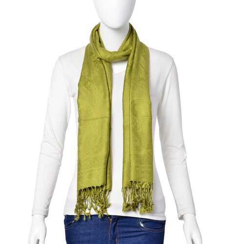 Green Colour Knitted Bandana Pattern Scarf with Tassels (Size 170X70 Cm)