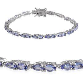 Tanzanite (Ovl) Bracelet in Platinum Overlay Sterling Silver (Size 8) 6.000 Ct.