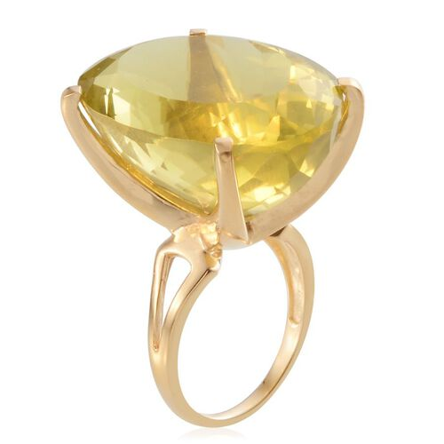 Brazilian Green Gold Quartz (Ovl) Ring in 14K Gold Overlay Sterling Silver 61.000 Ct.