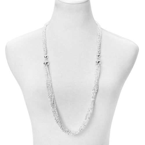 White Austrian Crystal Multi Functional Necklace (Size 18) and Bracelet (Size 8.5) with Magnetic Clasp in Stainless Steel