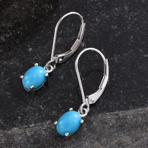 9K W Gold Arizona Sleeping Beauty Turquoise (Ovl) Lever Back Earrings 1.650 Ct.