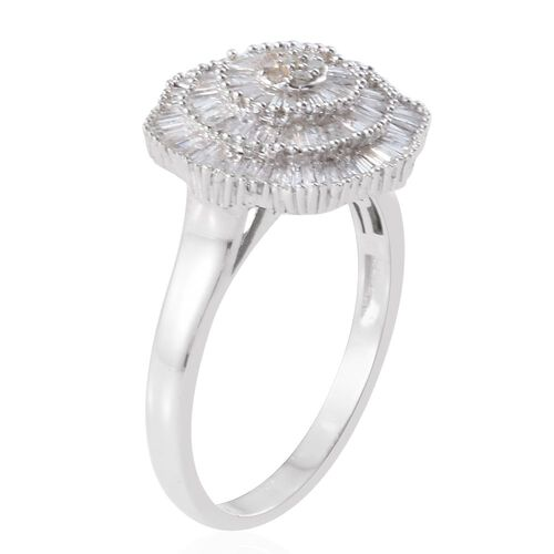 Ballerina Diamond Ring in Platinum Overlay Sterling Silver 1.150 Ct.