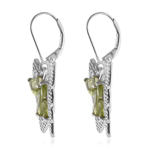 Hebei Peridot (Mrq) Butterfly Lever Back Earrings in Platinum Overlay Sterling Silver 5.000 Ct. Silver wt 7.00 Gms.