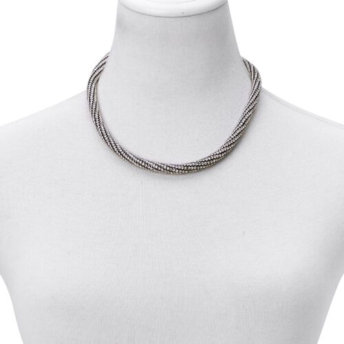 AAA White Austrian Crystal Necklace (Size 18 with 3 inch Extender) in Black Tone