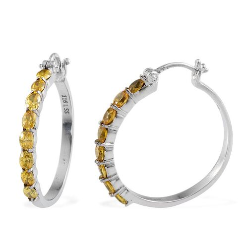 AAA Simulated Citrine (Ovl) Hoop Earrings in ION Plated Stainless Steel